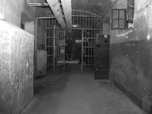 "The so-called ""Doberdo"" in the prison in Vác – photo by Péter Herendi<br />Prisoners were tortured here after being dragged down the winding stairs that have been demolished since then."
