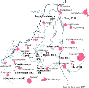 A map of the closed camps, 1951–1953