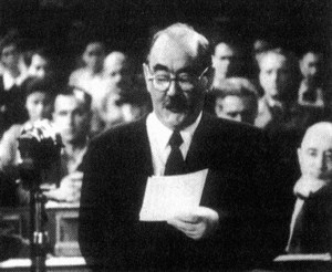 Prime Minister Imre Nagy in Parliament, 1953 – collection of Lívia Gyarmathy